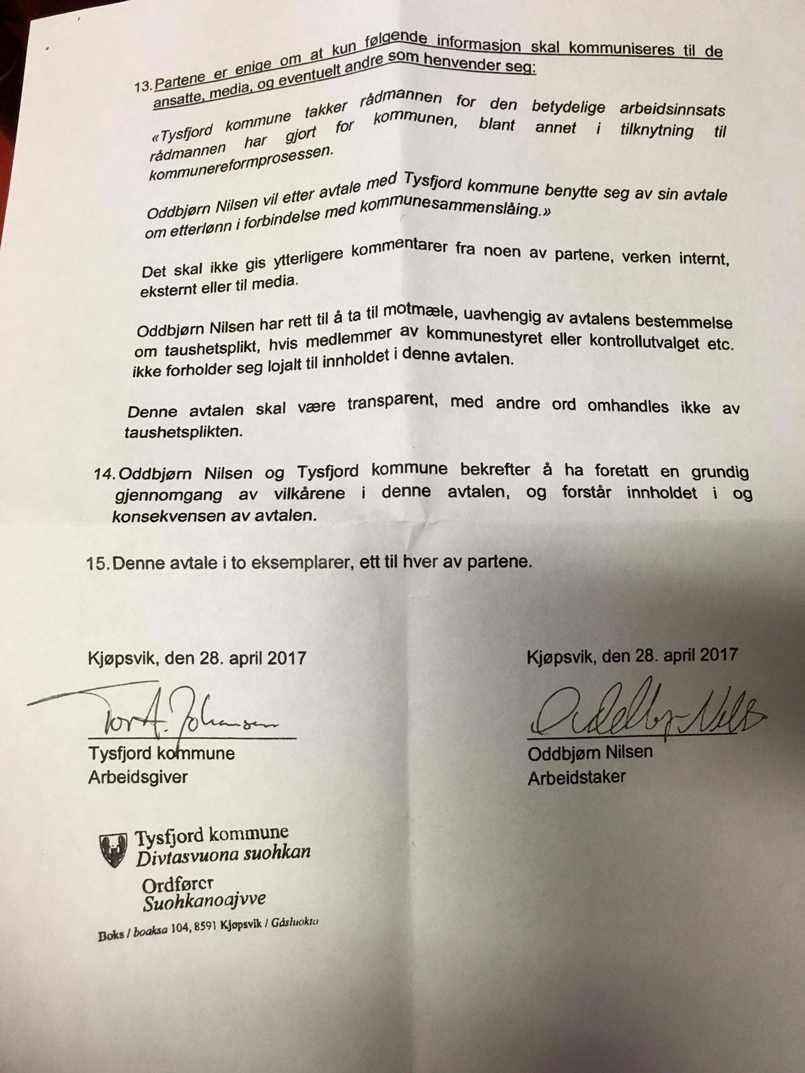 Side tre av avtalen mellom Oddbjørn Nilsen og Tysfjord Kommune, signert 02.05.17.
