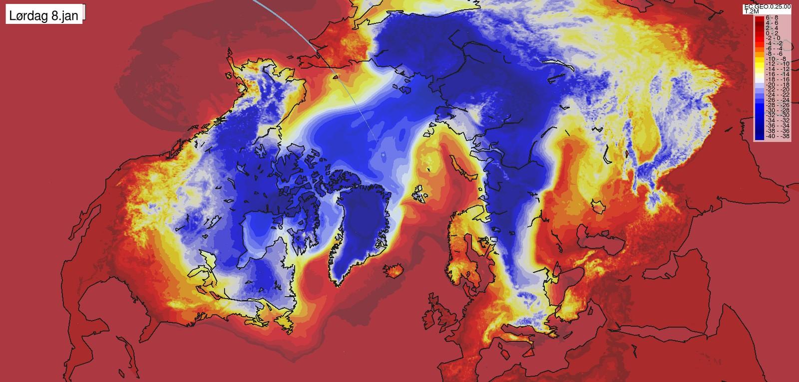 LØRDAG 8. JANUAR: Mildværet er tilbake og kulda ligger lenger mot øst. USA ligger fortsatt i fryseboksen.