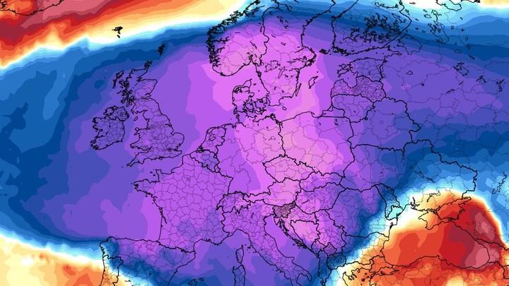 Kuldebølge over Europa  - Foto: Tropical Tidbits/tropicaltidbits.com