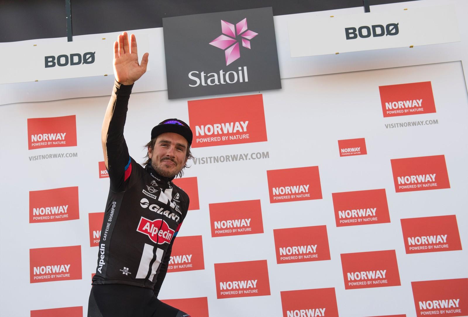 Tyske Johan Degenkolb fra Giant Alpecin jubler etter å ha vunnet den siste etappen av Arctic Race of Norway