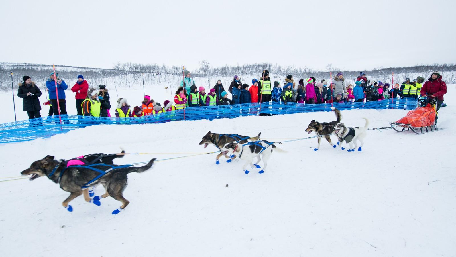 Ben Voigt nettopp i gang med Bergebyløpet. Skolebarn i Nesseby var på ekskursjon ved løpsstart.