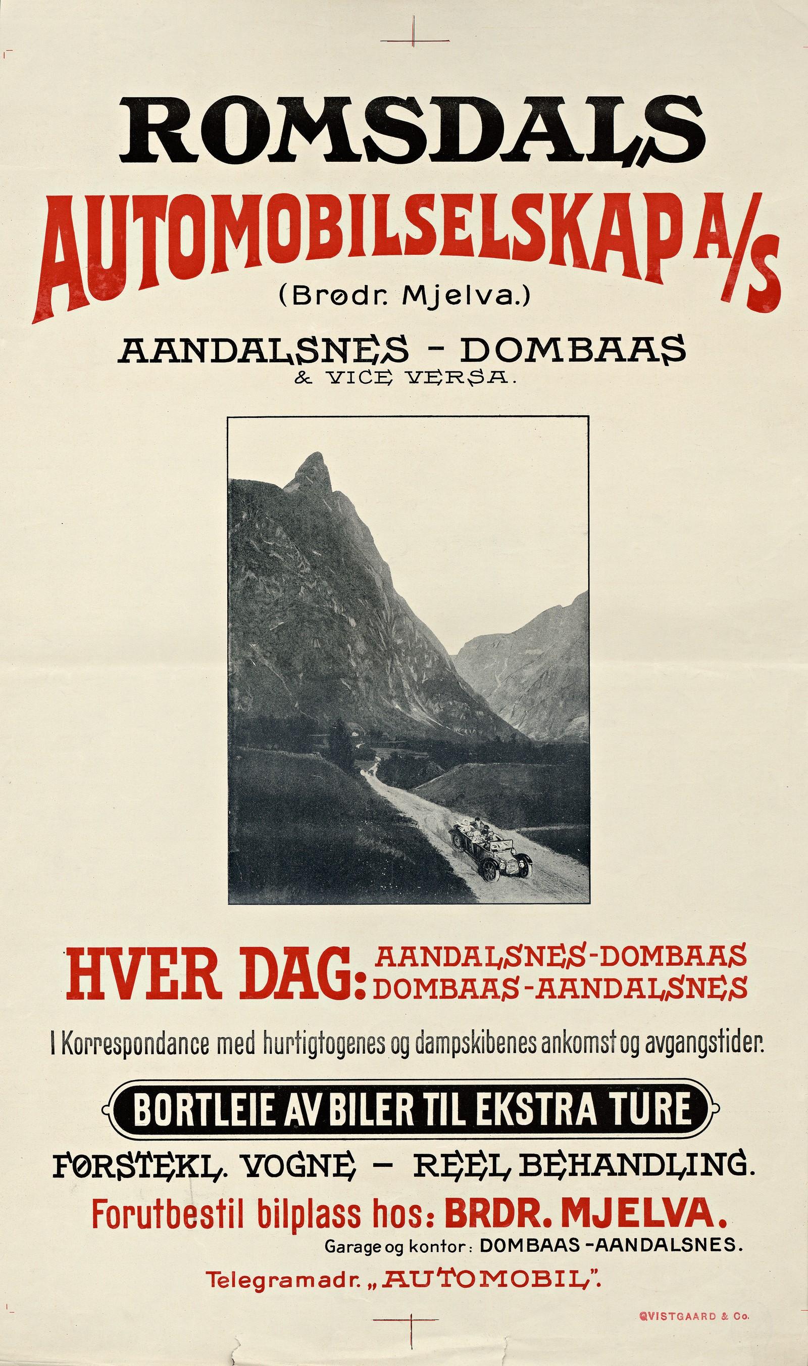 Romsdals Automobilselskap A/S (Brødr. Mjelva.) : Aandalsnes - Dombaas & vice versa. Plakat fra 1924.