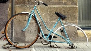 Sykkel med stjålet hjul