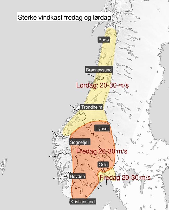 Vindkast i Norge fredag og lørdag