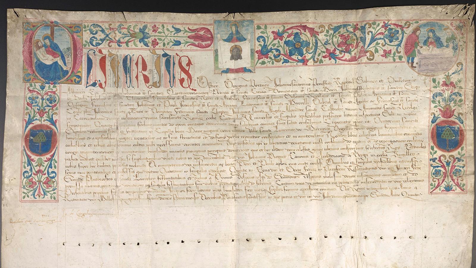 AVLAT: Dette pergamentbrevet fra 1507 er et såkalt avlatsbrev, skrevet av tolv kardinaler på vegne av pave Julius II. Brevet lover hundre dagers avslag på skjærsildens pine til de som gjennom tro og handling bidro til å gjøre det nye kapellet i den katalanske byen San Lorenzo de Morunys populært.