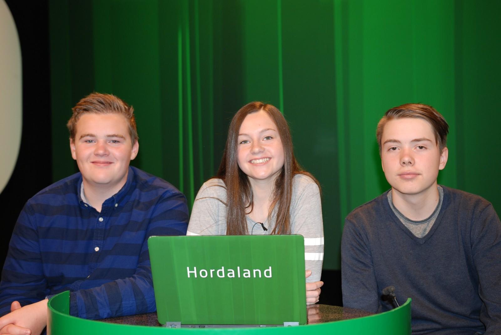 HORDALAND: Meland Ungdomsskule representert ved Sigurd Uthaug, Herman Villanger og Lene Brakstad.