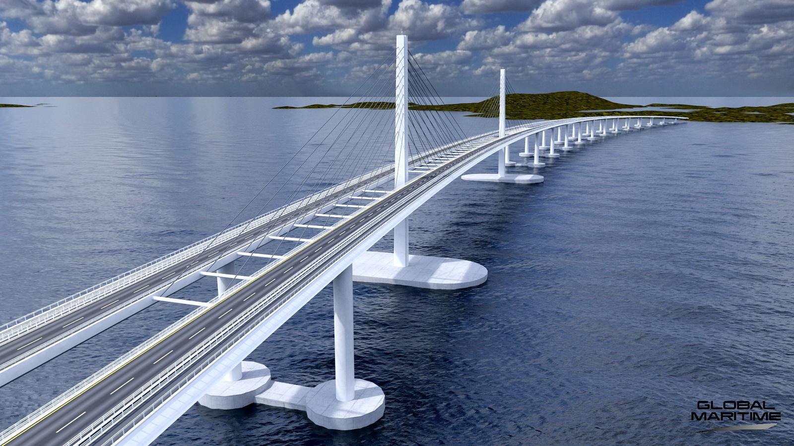 Men den finst andre alternativ også. Firmaet Global Maritime har dette forslaget for ei flytebru på E39 over Bjørnafjorden.