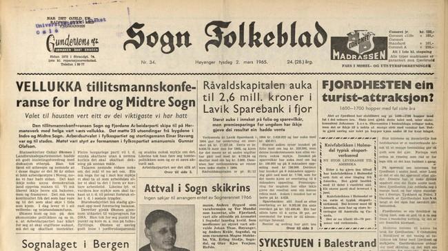 Sogn Folkeblad den 2. mars 1965. På framsida var det stoff frå store delar av Sogn og Sunnfjord, mellom anna at det går mot tidleg vår i Sogndal.