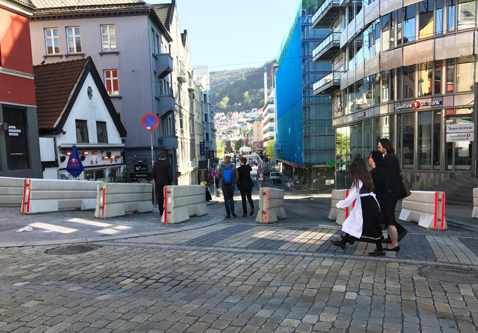 Sperringer i Bergen sentrum på 17. mai