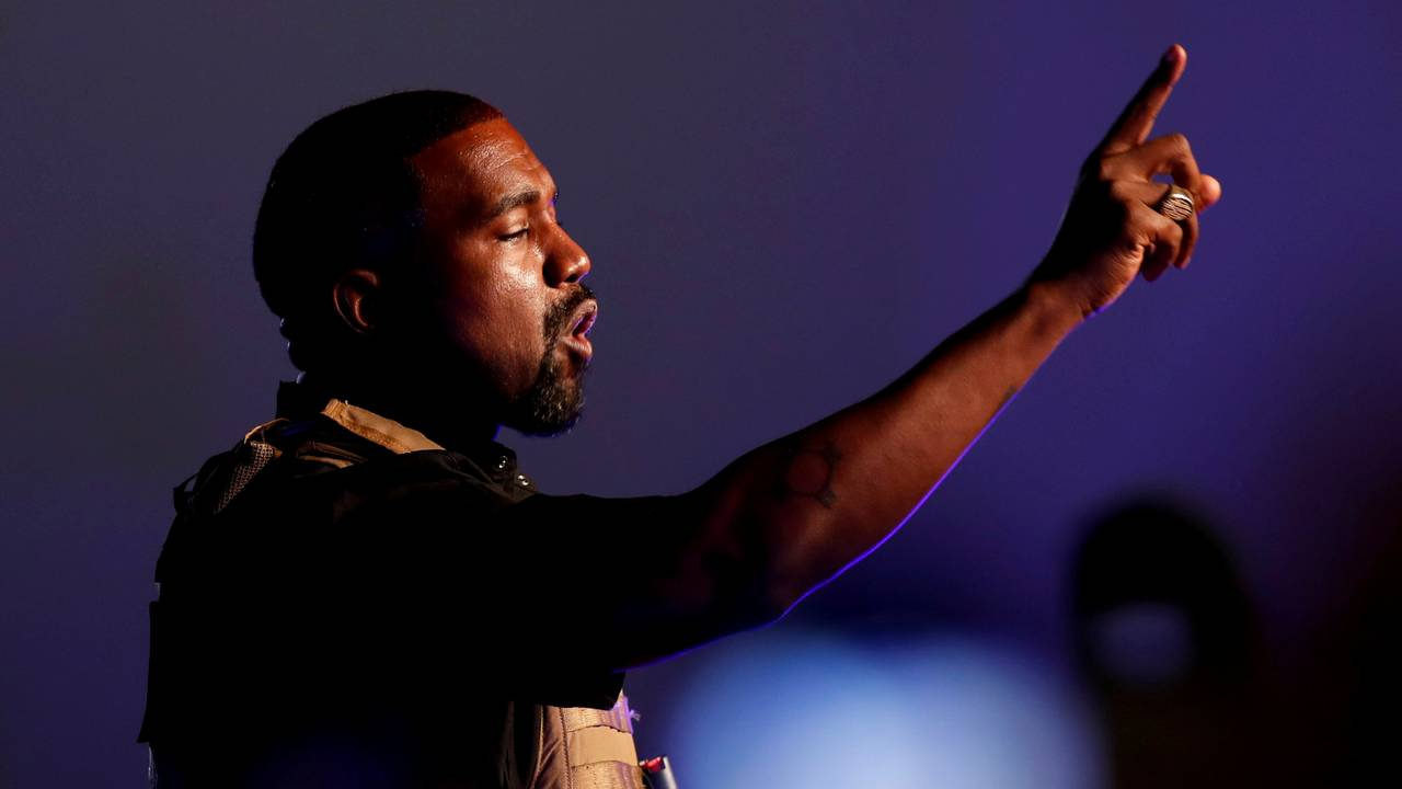 Kanye West på sitt første valgkampmøte under presidentvalgkampen, juli 2020.