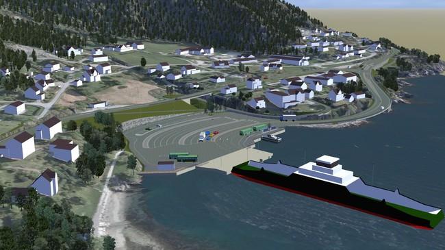 Modell som syner korleis ferjekaia i Lavik blir sjåande ut når anleggsarbeidet er ferdig i 2015. Foto: Statens vegvesen.