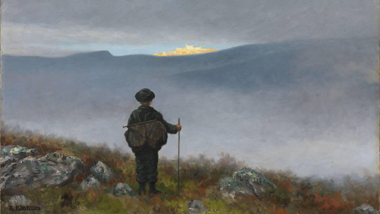 Theodor Kittelsen - Langt langt borte saa han noget lyse og glitre 1900