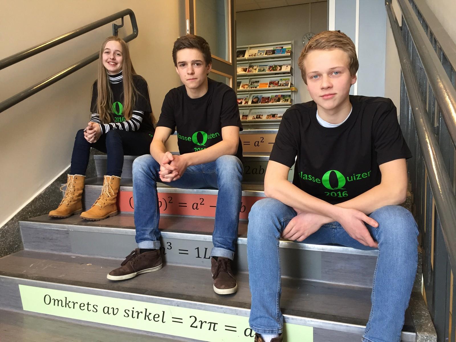 Selma Jakupovic, Erik Fodstad og Amund Møllerhagen ved Lena ungdomsskole fikk sju poeng.