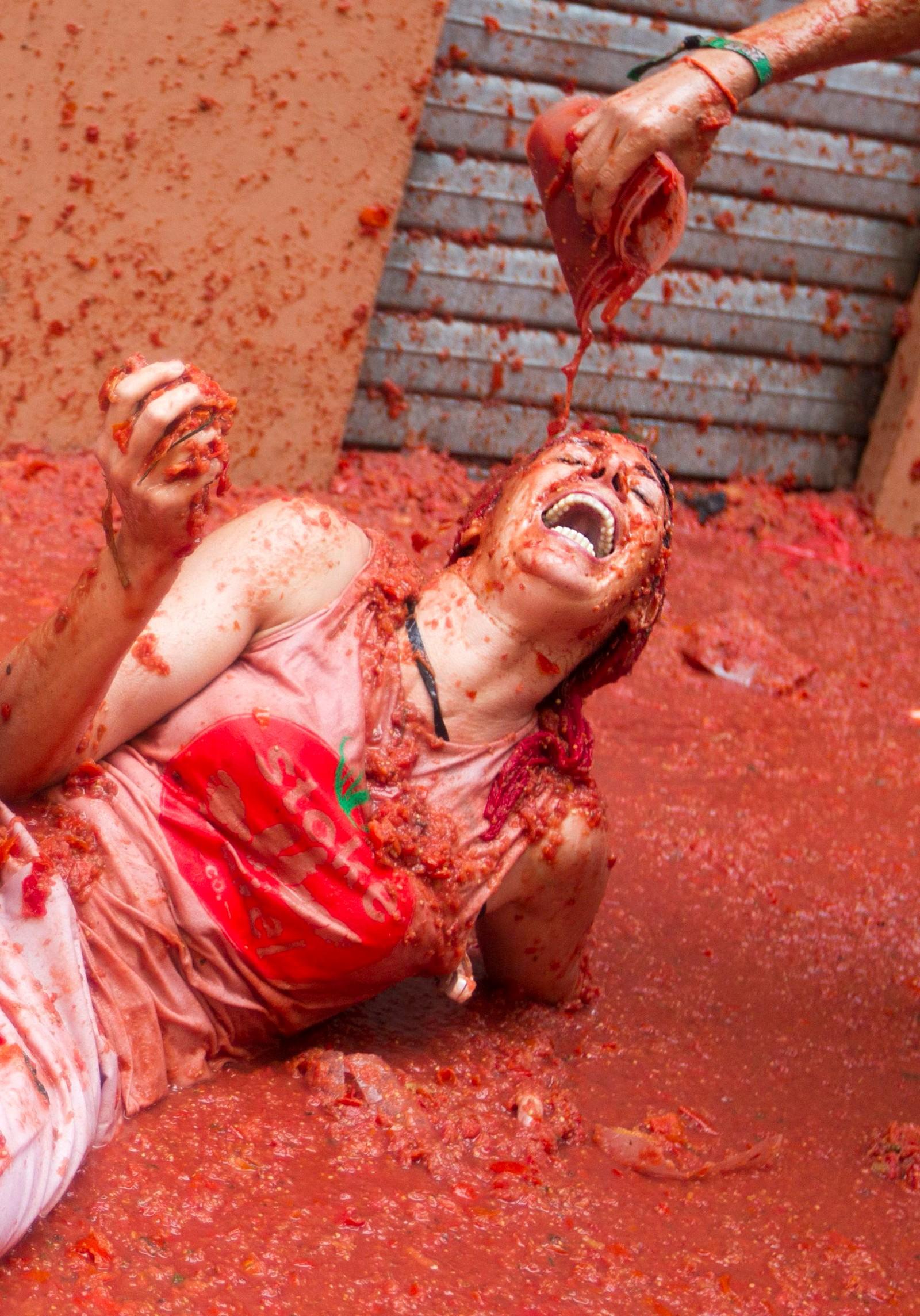 """""""Tomatina"""",også kalt verdens største matkrig, ble arrangert for den 72. gangen i Bunol i Spania."""