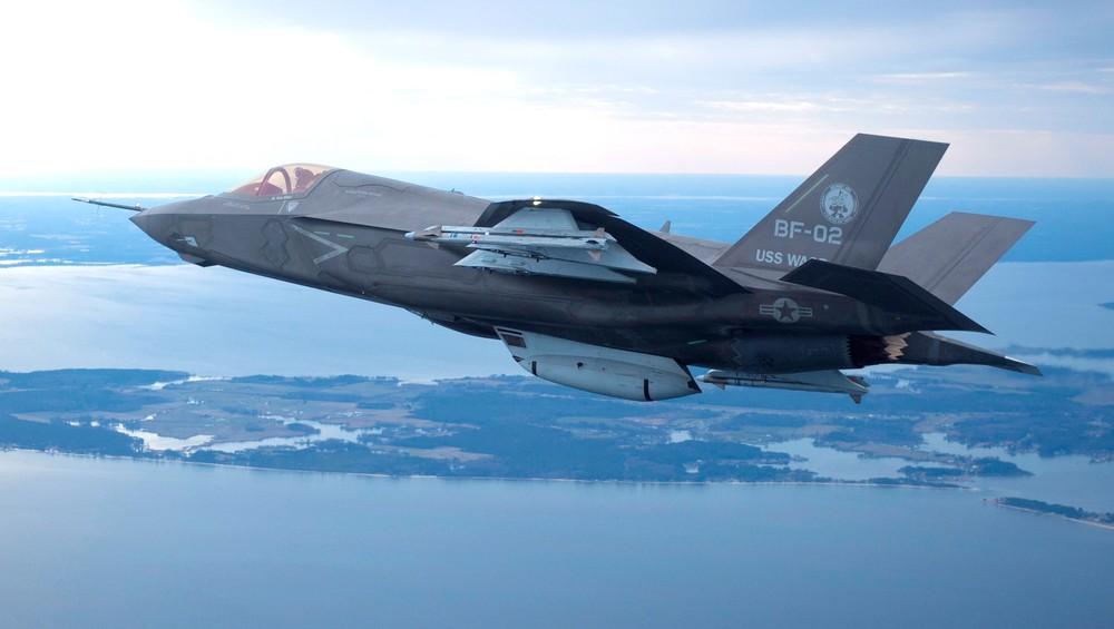 Et amerikansk F-35 fra Lockheed Martin flyr i Maryland