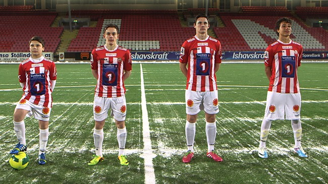 (F.v.) Sigurd, Håvard, Henrik og Bruno på Tromsø Idrettslag deler samme drøm - å bli fotballproff. Foto: NRK