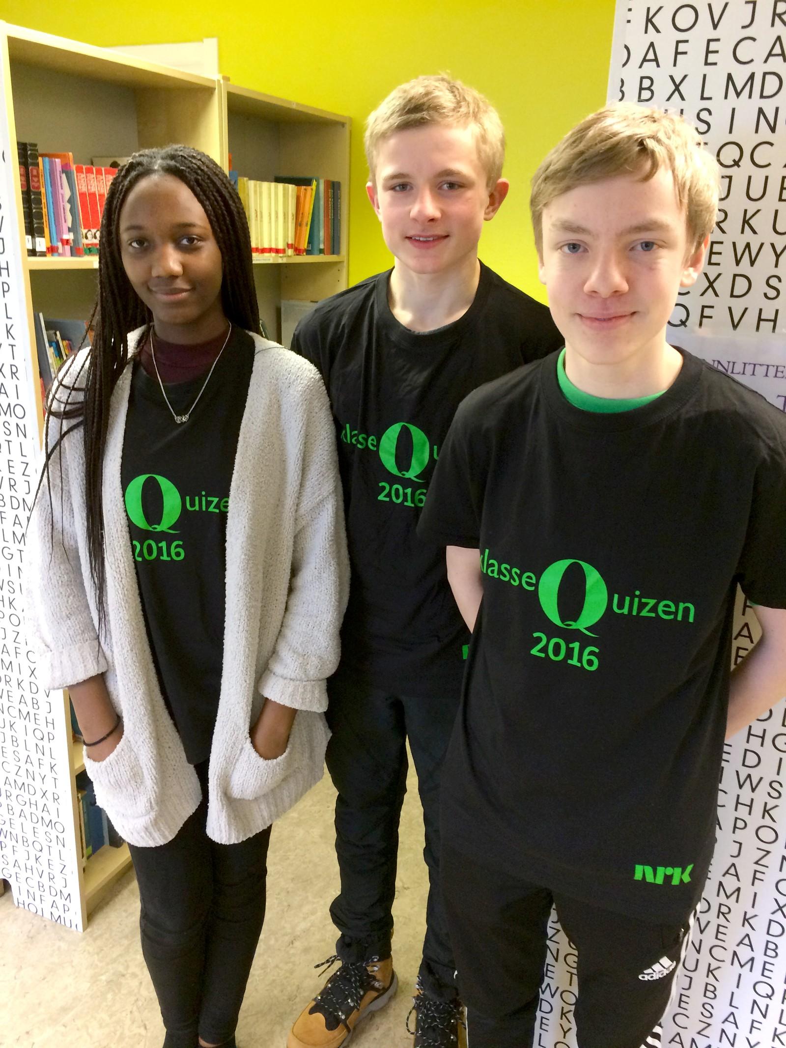 Latifa Okoko, Henrik Einangshaug og Kai-Aleksander Kristiansen fra Fagerhaug Kristne Skole på Skatval fikk 11 poeng.