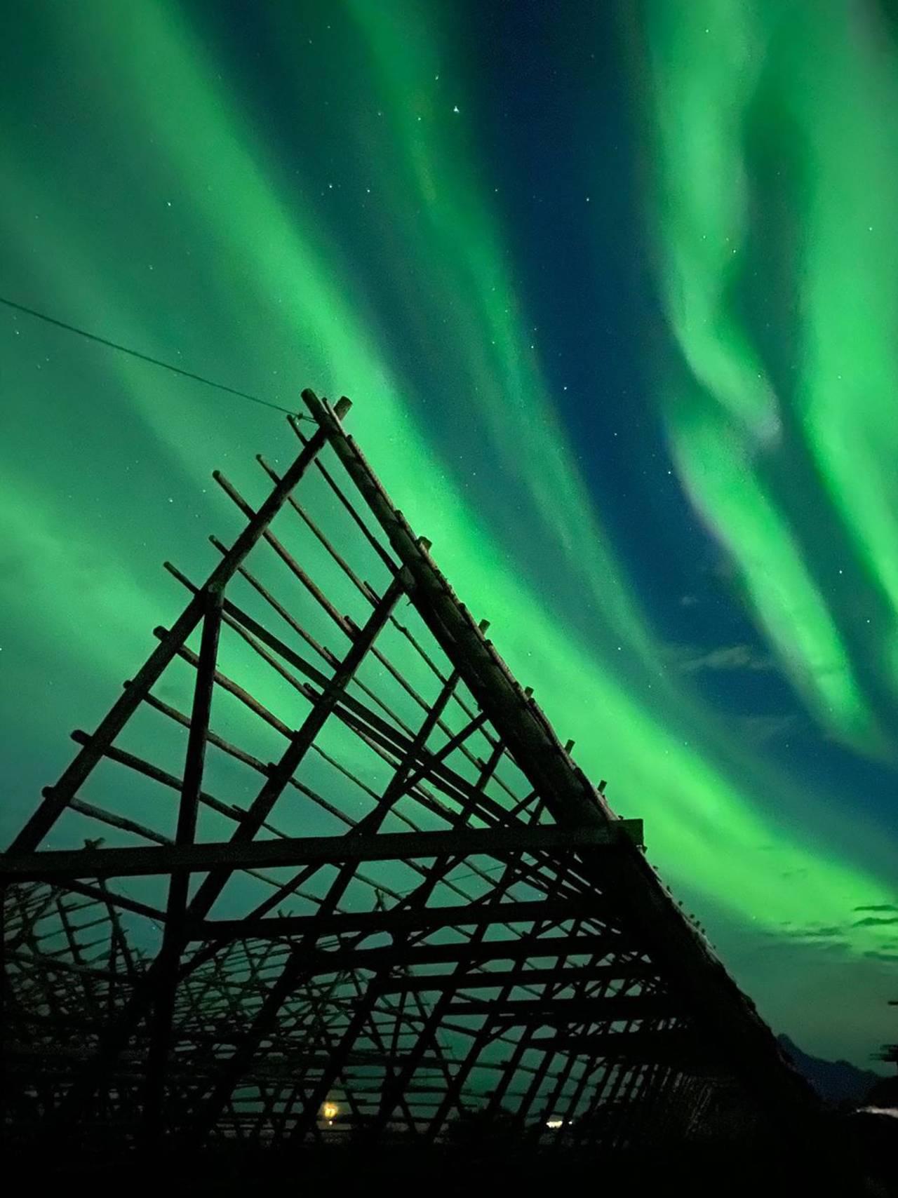 Nordlys over Svolvær i Lofoten