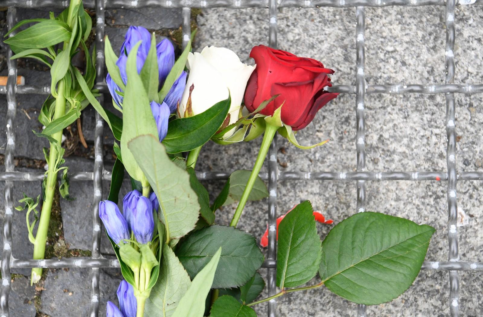 Blomster i de franske fargene er lagt ned foran den franske ambassaden i Berlin, til minne om ofrene for terrorangrepet i Nice 14. juli.
