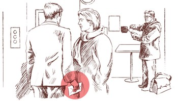 Illustrasjon av politispaner som filmer den korrupsjonsmistenkte kommuneansatte kvinnen i vestibylen