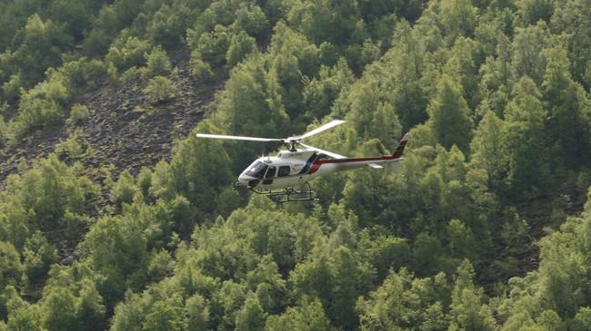 Oppdrag for kraftselskap er ei viktig inntektskjelde for Airlift. Her er eitt av helikoptera til selskapet i ferd med å lande i Dalsdalen i Høyanger. Foto: Kjell Arvid Stølen, NRK.