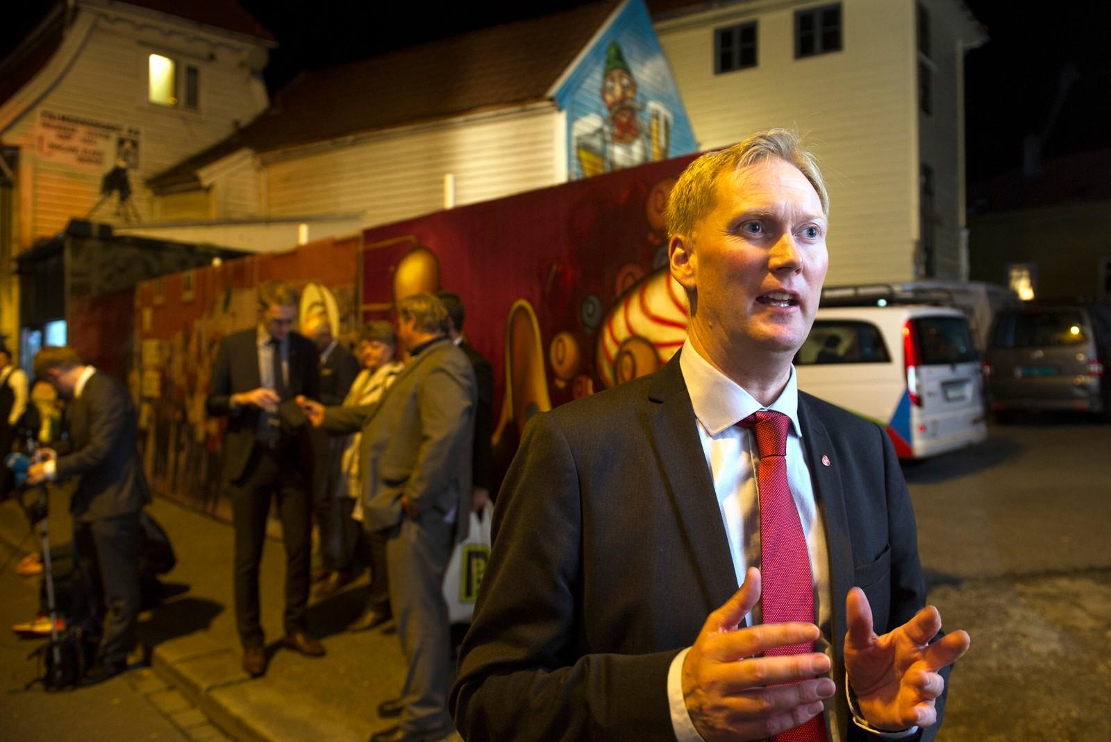 APs byrådslederkandidat i Bergen, Harald Schjelderup på Arbeiderpartiets valgvake. Foto: Marit Hommedal / NTB scanpix