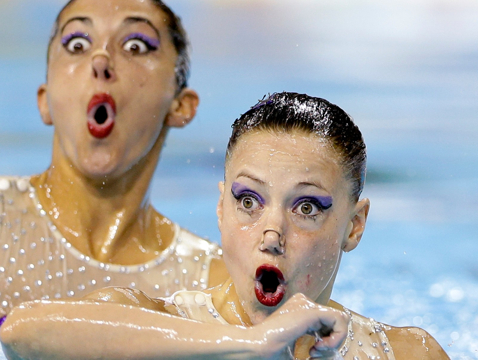 Argentinas synkronsvømmere i aksjon under Pan Am-lekene i Toronto 9. juli.