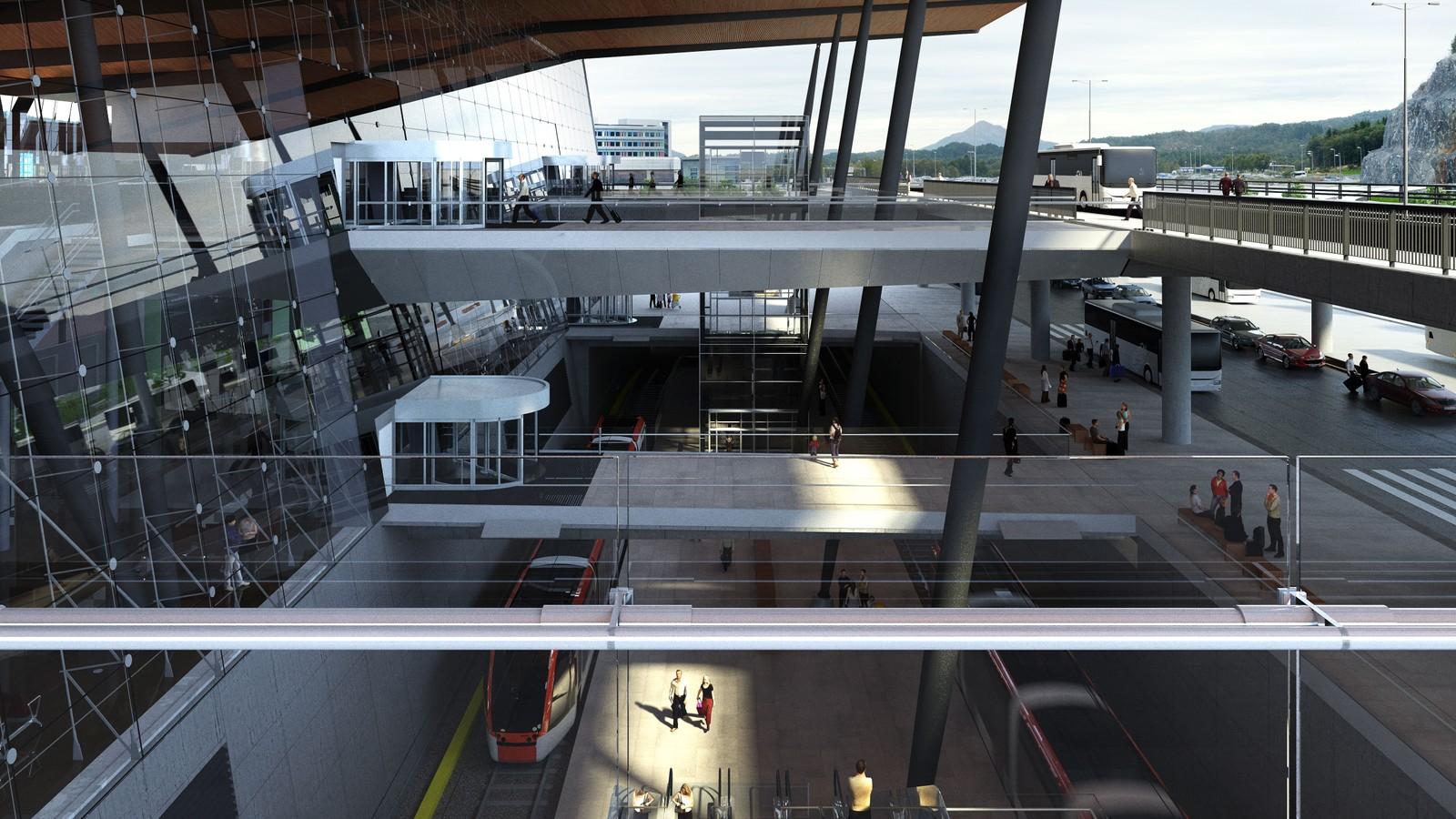 KJENT UTFORMING: Fronten på den nye terminalen blir ikke ulik Oslo Lufthavn Gardermoen. Illustrasjon: Nordic – Office of Architecture