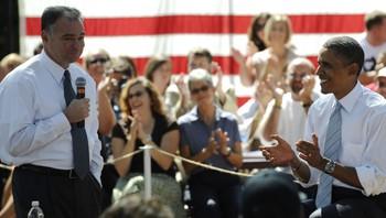 Guvernør i Virginia Tim Kain og Barack Obama