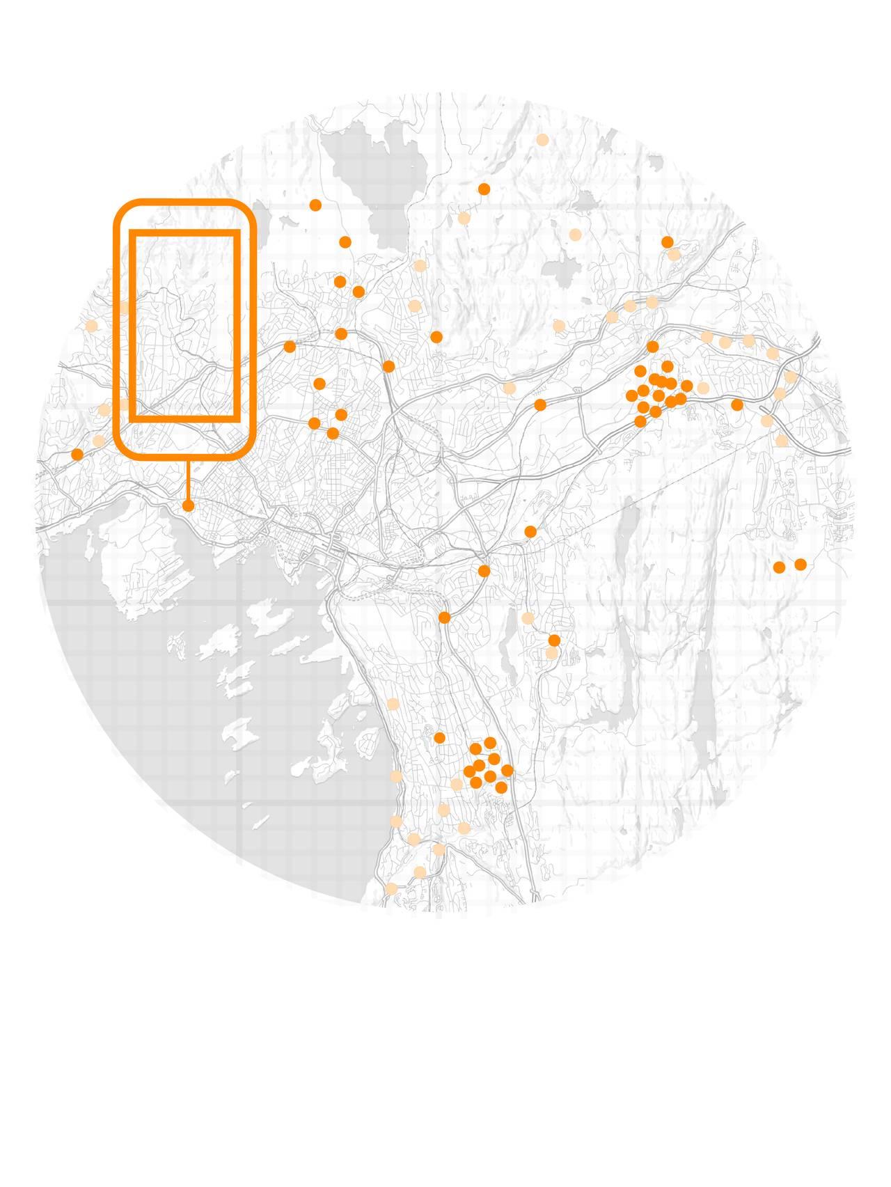 Noen av prikkene er uthevet og man ser at de tilhører én mobiltelefon.