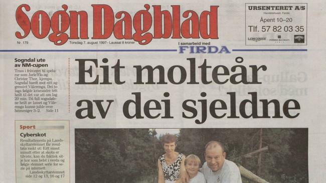 """Eitt av dei siste nummera av Sogn Dagblad, 7. august 1997. Under headingen står det """"i samarbeid med Firda"""". Ikkje eitt ord på framsida handlar om Høyanger."""