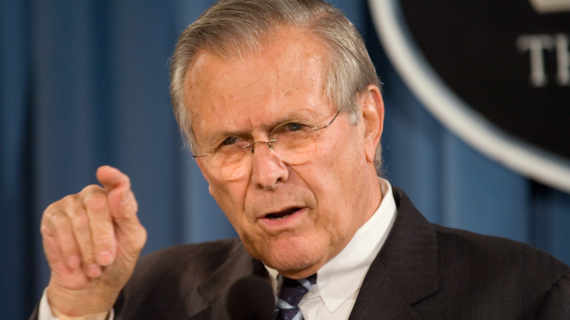 an analysis of donald rumsfeld as secretary of defense War room donald rumsfeld's snowflake poetry is exactly what america needs right now in newfound verse from 2001, the former defense secretary rages against time, space and indecipherable acronyms.