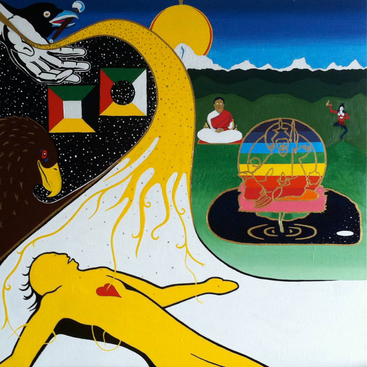 fargesprakende maleri av en gul skikkelse som ligger på bakken emd rødt hjerte, mer gult lys kommer mot ham som en elv, mens buddhistiske skikkelser danser og mediterer i fjellandskapet bak