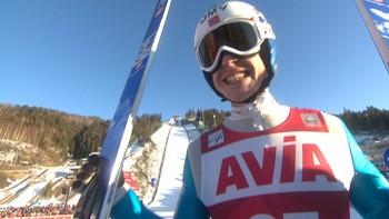 Robert Johansson hoppet 243,5 meter i kvaliken. Komm.: Christian Nilssen og Johan Remen Evensen.