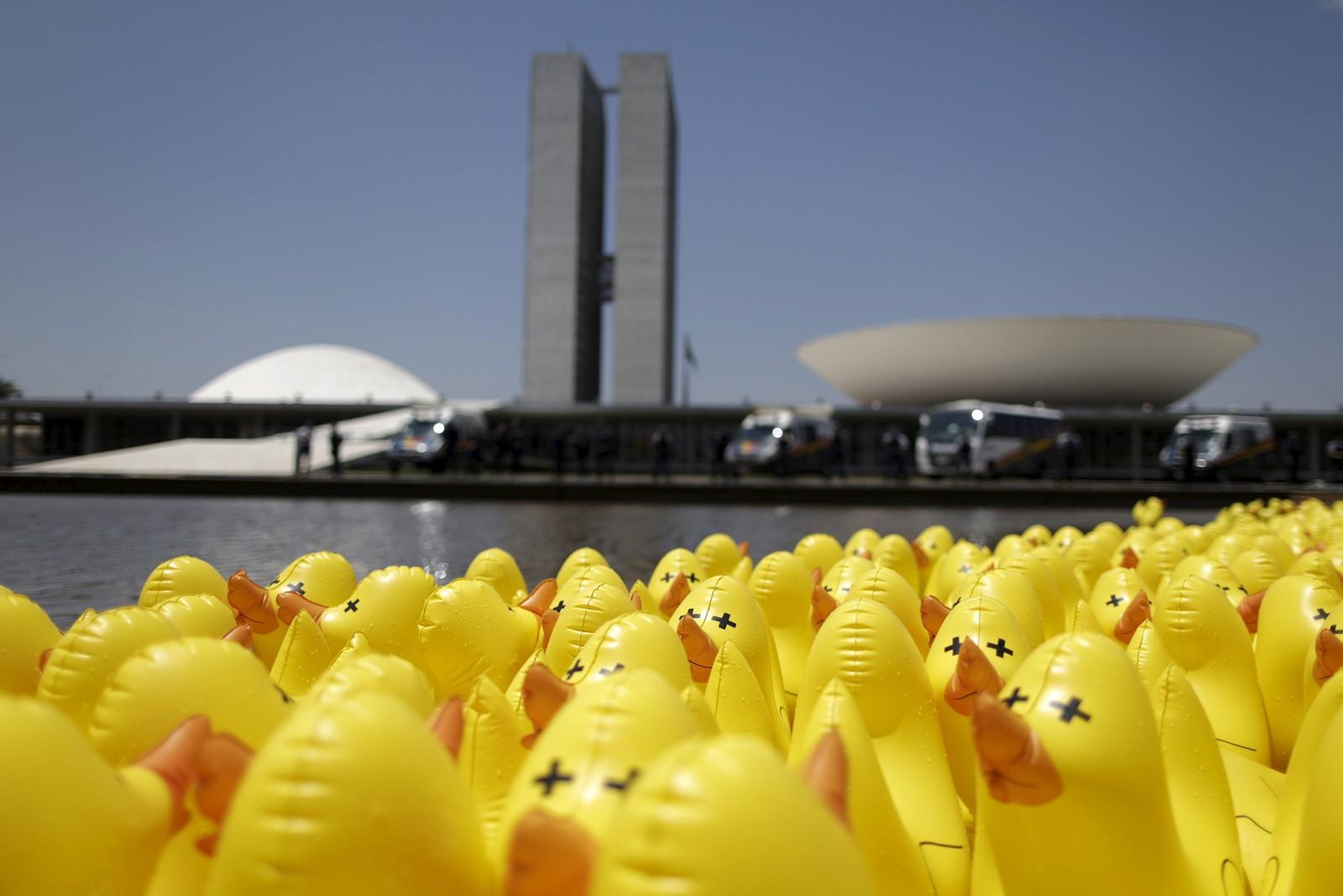 Oppblåsbare ender var denne uka samlet foran den brasilianske nasjonalforsamlingen i Brasilia. Opptrinnet var et ledd i protester mot økte skatter.