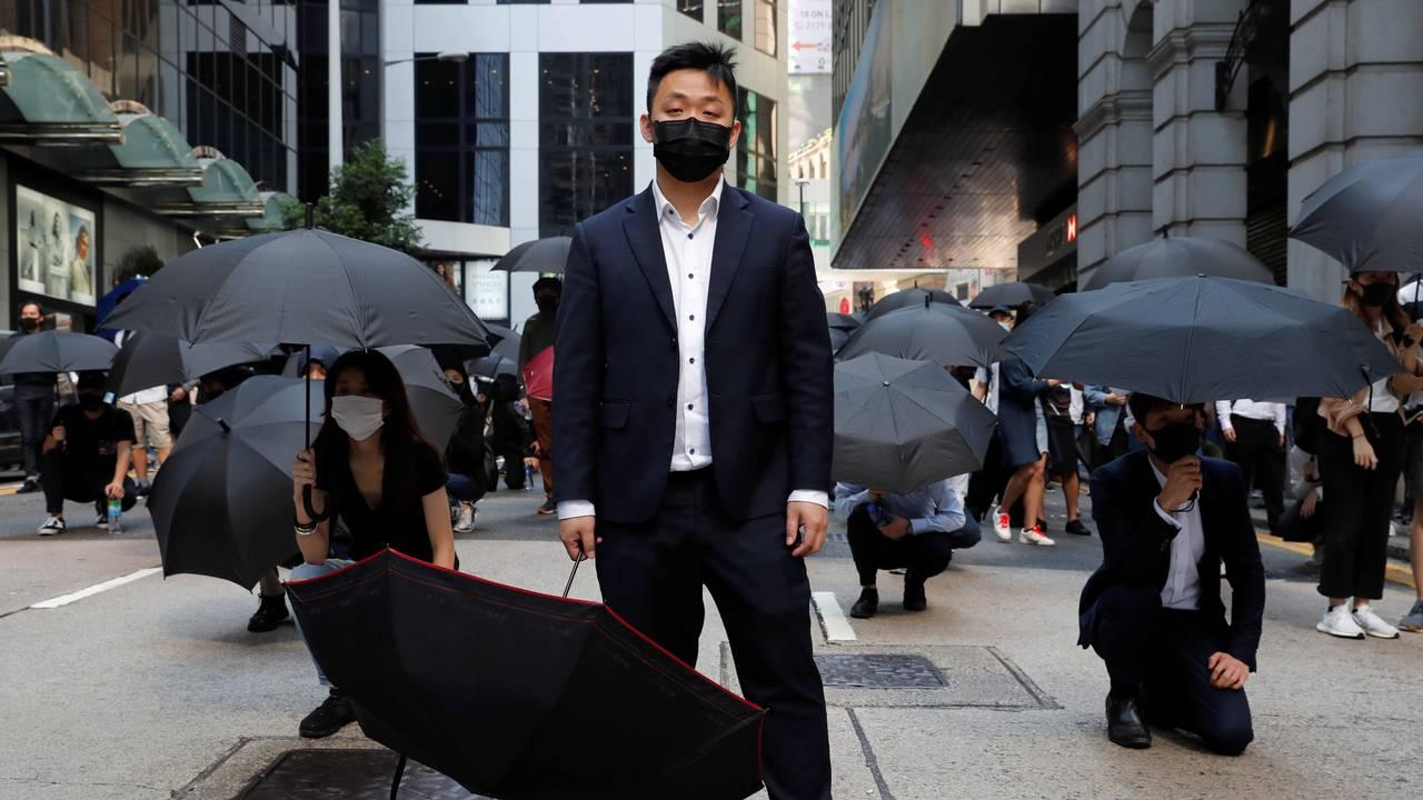 Protest i Hongkong før arbeidsdagen starter mandag 11. november 2019.