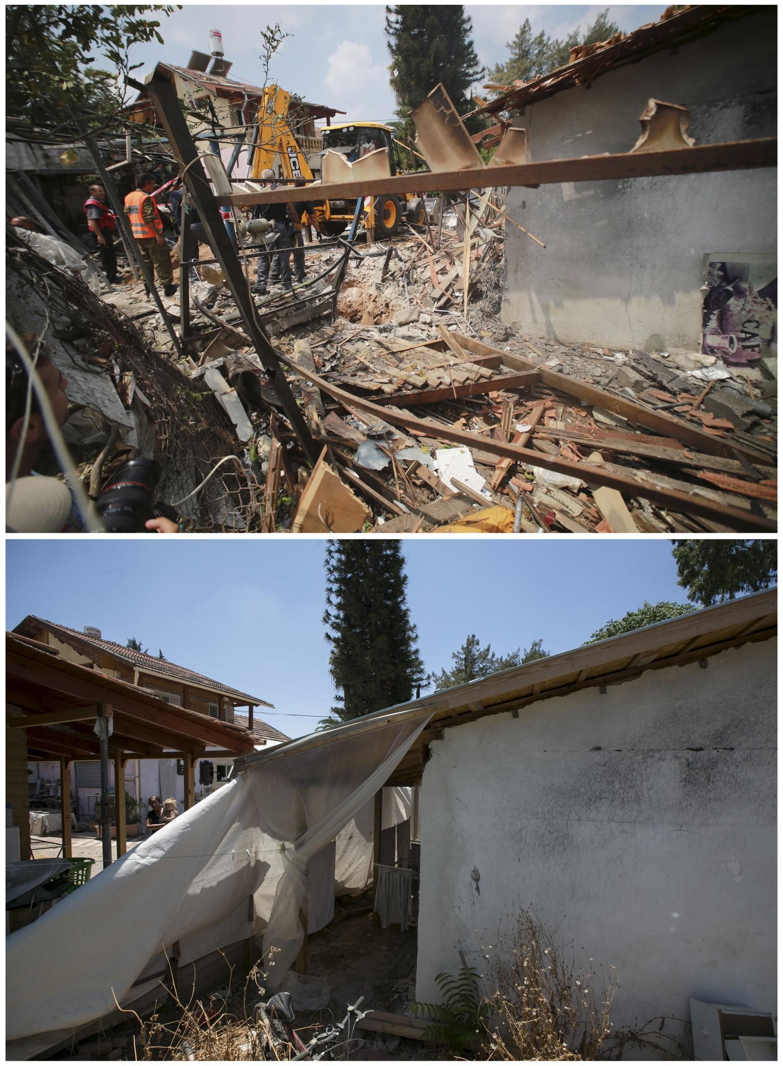 Israelsk krisepersonell arbeider på et nedslagssted for en palestinsk rakett i Yahud i nærheten av Tel Aviv 22. juli 2014. Det nederste bildet viser samme sted et snaut år senere.