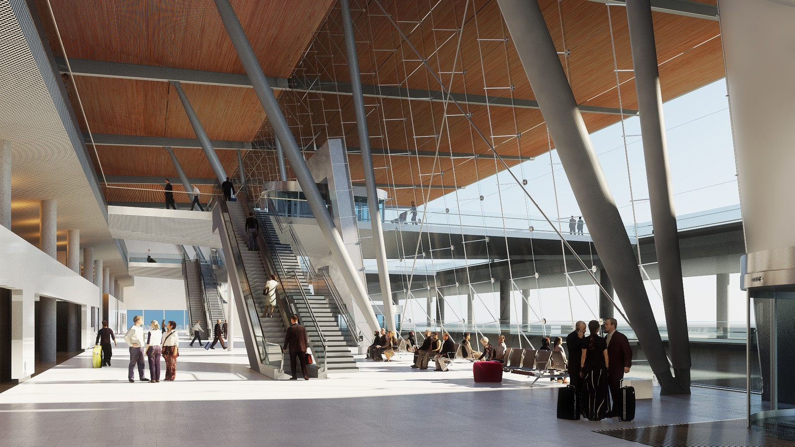 ANKOMSTPERRONGEN: Slik vil terminalbyggets front fortone seg for de som ankommer Bergen. Illustrasjon: Nordic – Office of Architecture