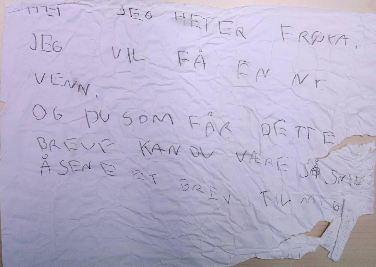 Flaskepost fra Frøya. Hun skriver
