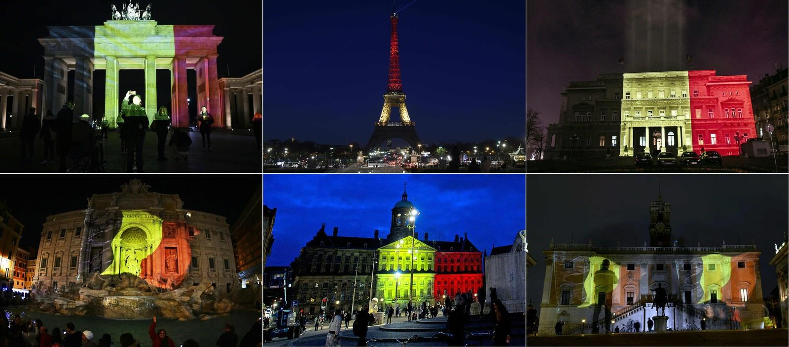 Brandenburger Tor i Berlin, Eiffel-tårnet i Paris, rådhuset i Beograd, Trevi-fontenen i Roma, det kongelige slottet i Amsterdam og Romas Campidoglio lyste opp i belgiske farger for å minnes terrorofrene i Brussel i mars.