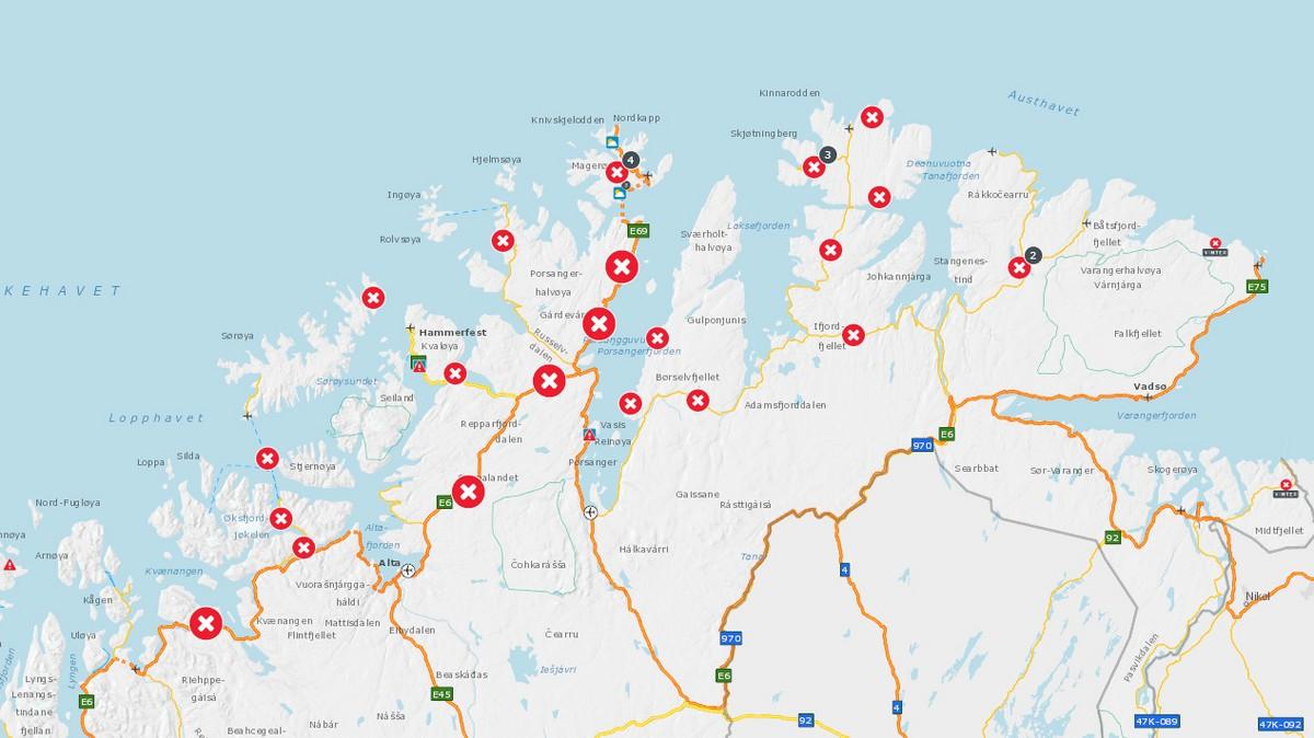 29 veier er stengt i Finnmark onsdag formiddag.