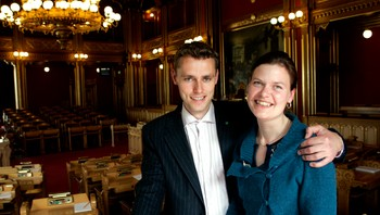 Ola Borten Moe og Anna Cecelie Brustad på Stortinget