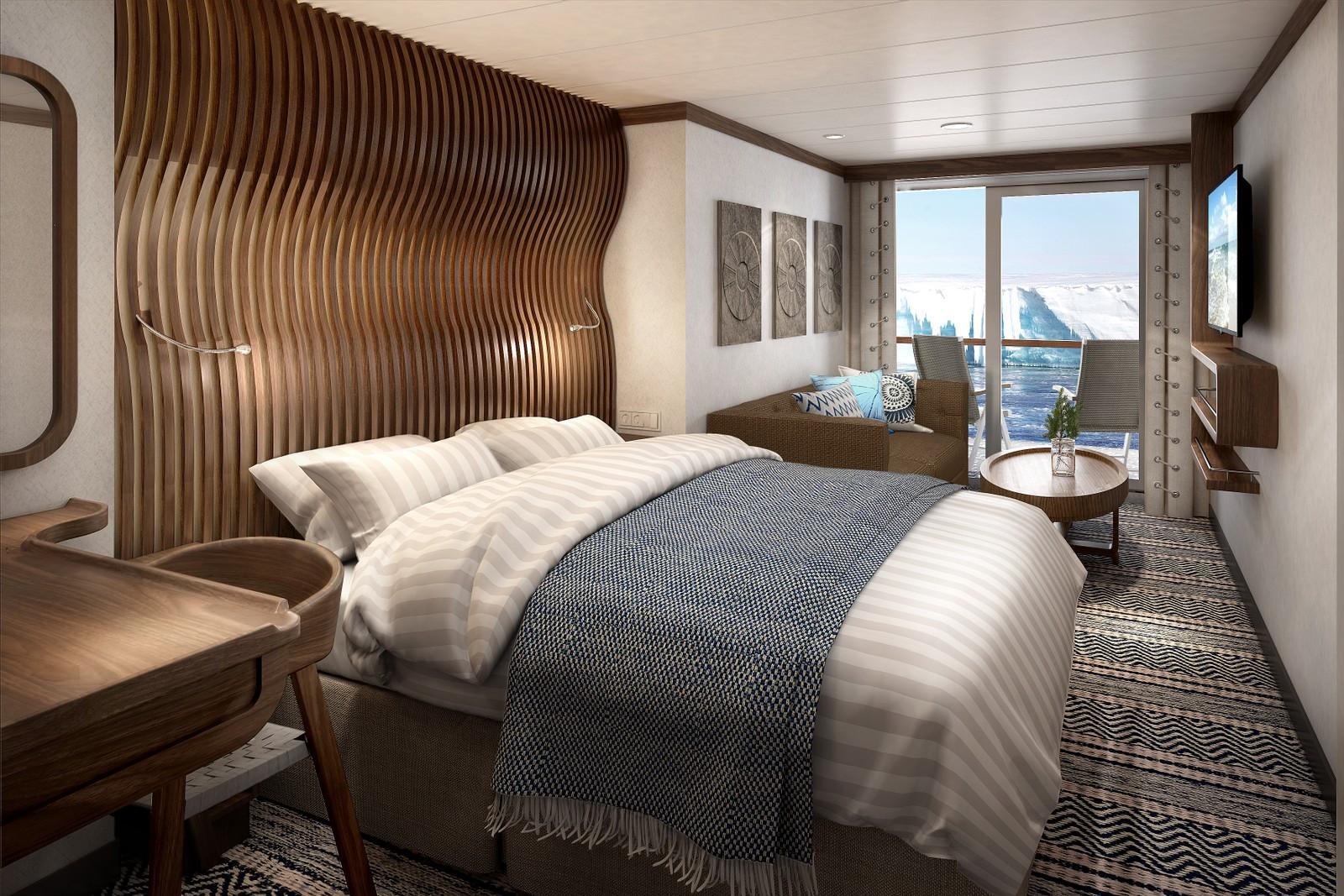 Seks av ti lugarer på Hurtigrutens to nye ekspedisjonsskip får private balkonger der gjestene.