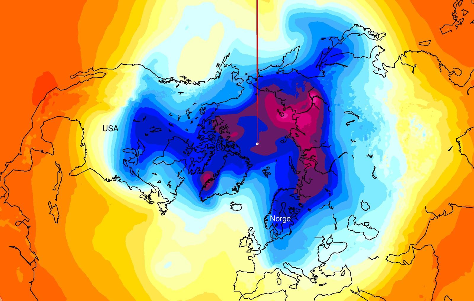 TORSDAG 5. JANUAR: Kalde og varme luftmasser sett med Nordpolen som sentrum.