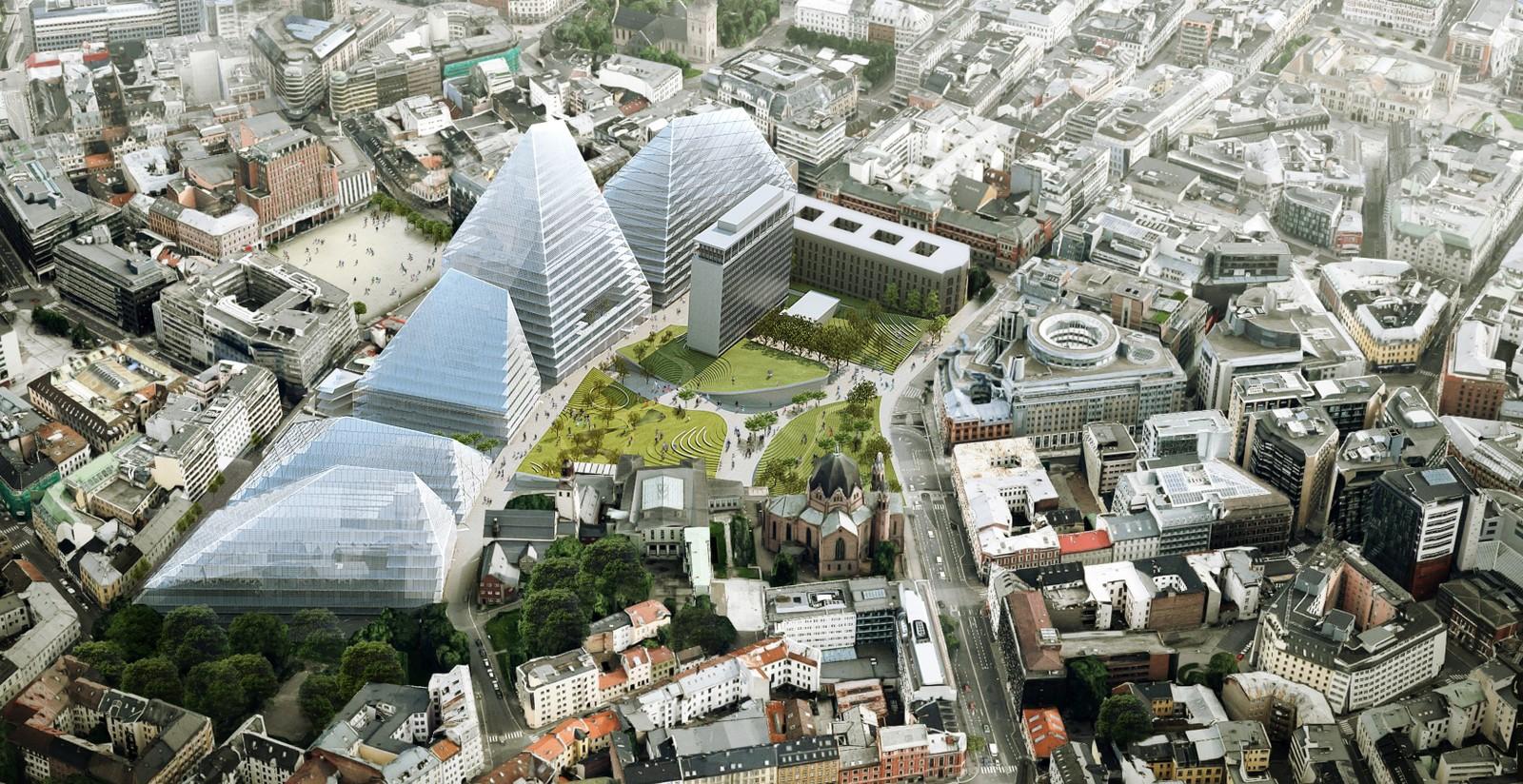 NUMMER 2 - BIG: BIG legger opp til å huse regjeringen og departementene i en rekke pyramidelignende høyhus med stor grunnflate.