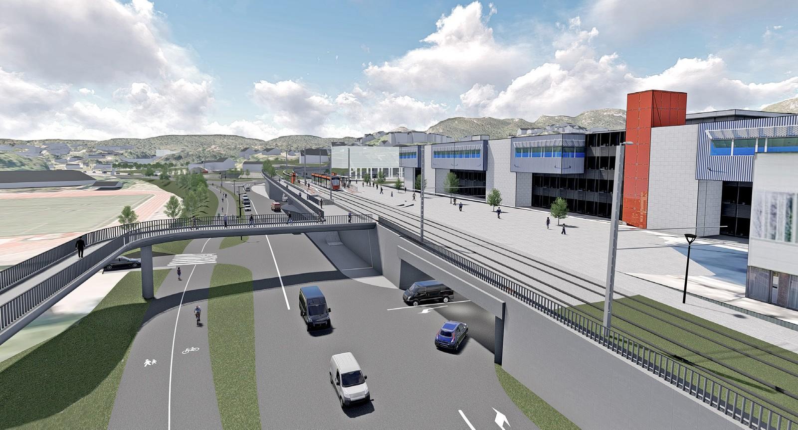 Fyllingsdalen terminal, ligger tett på Oasen og foreslås som en holdeplass med overgang mellom buss og bane.