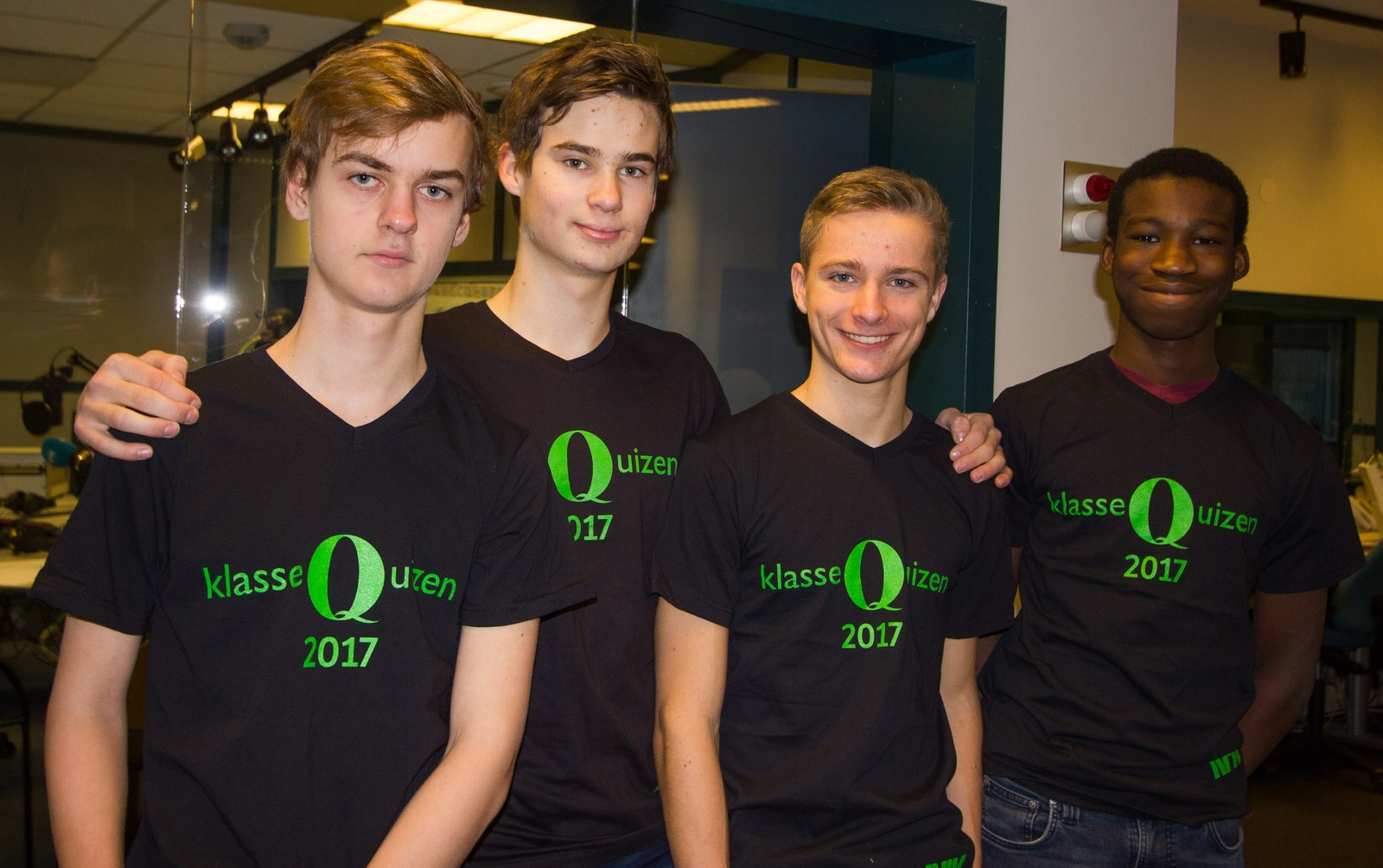 Gautesete skole fikk syv poeng av tolv mulige. Fra venstre: kristian Narten, Mathias Andersen, Jonas Olscik og Davis Asare.