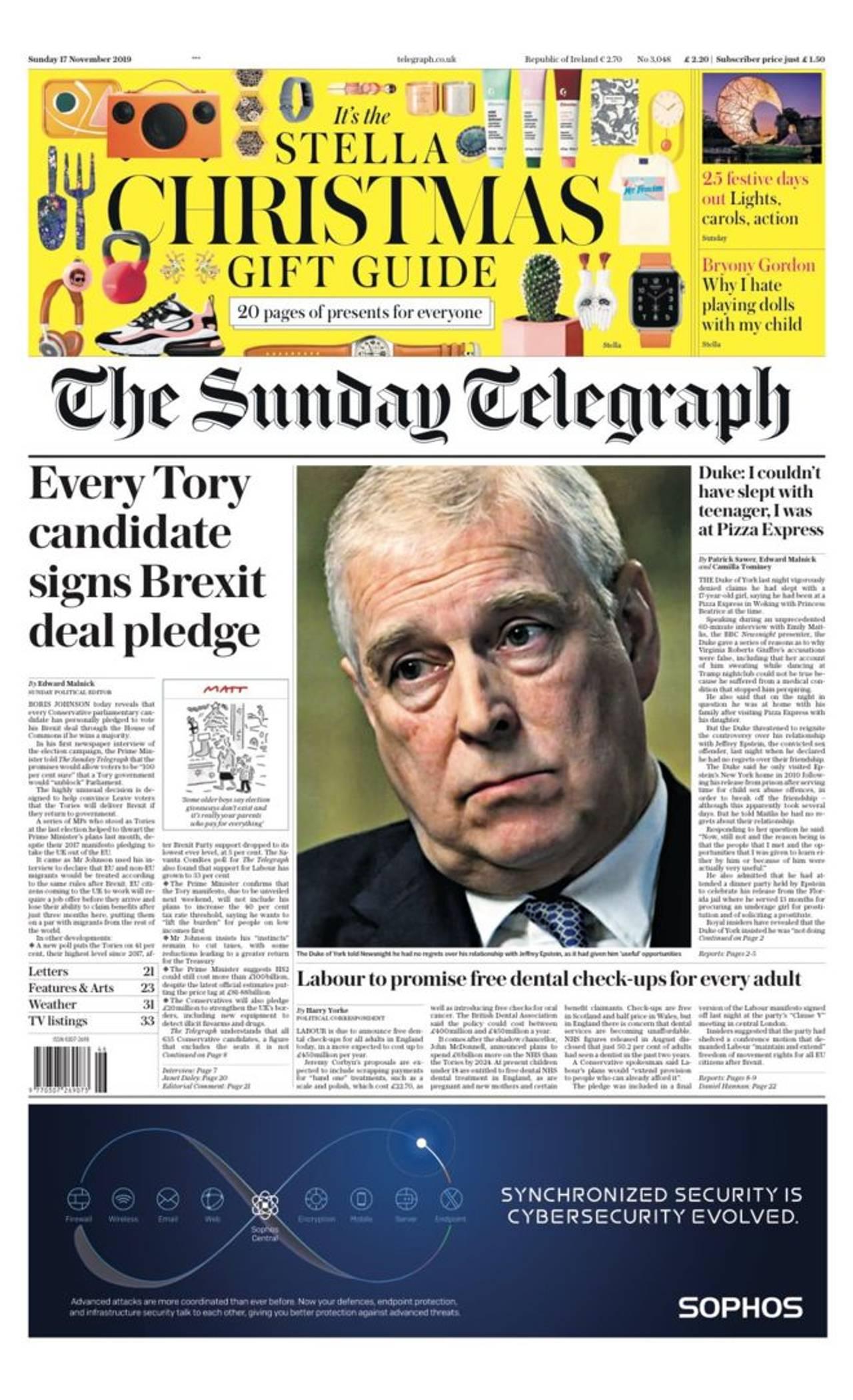 Forsiden av Sunday Telegraph.