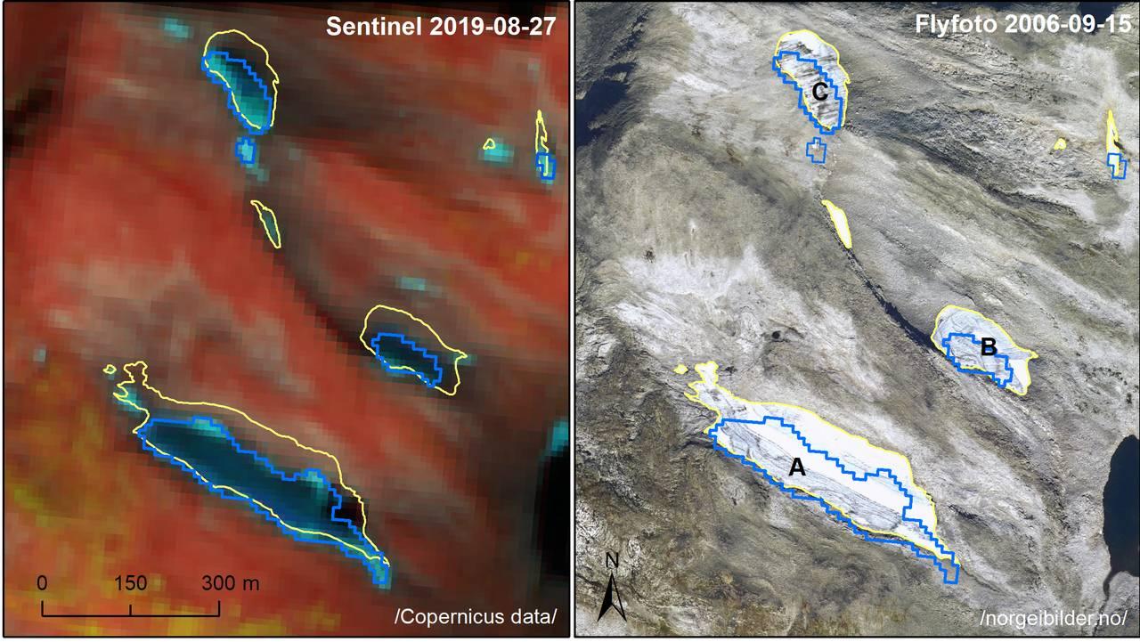 Figur tilrettelagt av Liss M. Andreassen. NVE. Til venstre Sentinel satellittbilde fra 2019 (Copernicus Sentinel data 2019) og til høyre ortofoto fra norgeibilder.no fra 2006 (Statens kartverk, Geovekst og kommunene, Omløpsfoto 2006). Breomkrets fra 2019 i blått og breomkrets fra 2006 i gult.