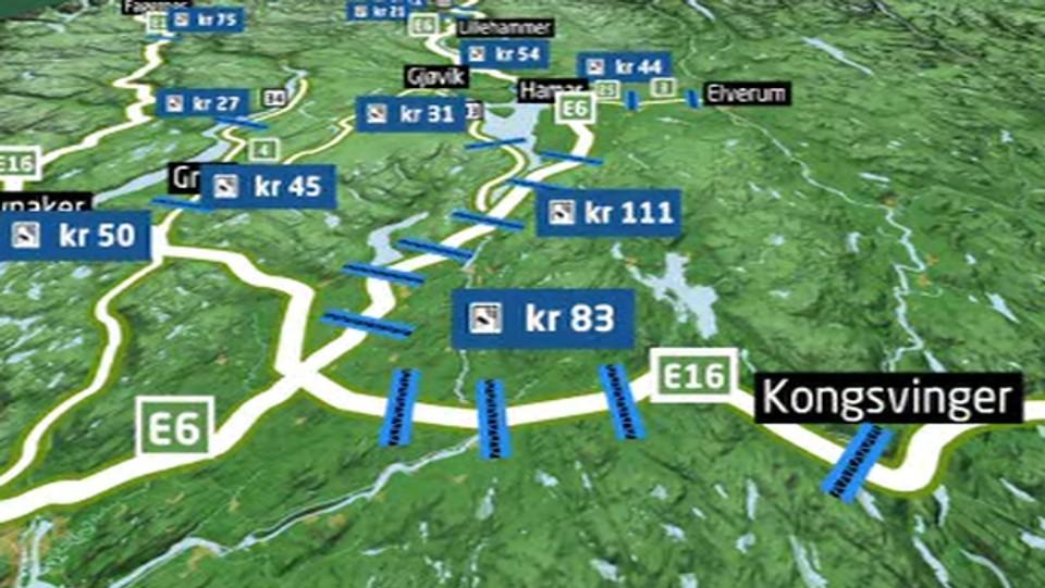 kart over bomstasjoner 700 kroner fra Otta til Oslo – NRK Hedmark og Oppland – Lokale  kart over bomstasjoner